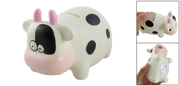 Children White Cartoon Cow Shape Money Coin Piggy Bank Box