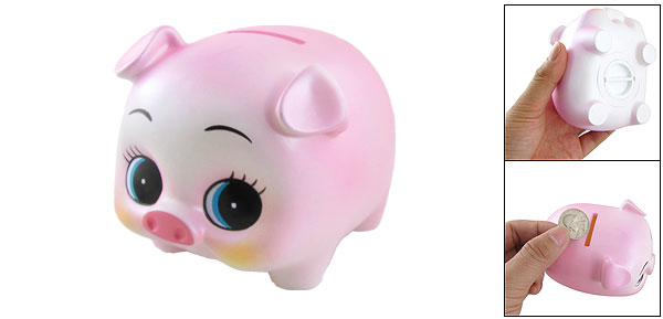 Pink Plastic Cartoon Pig Figure Piggy Bank Box for Children