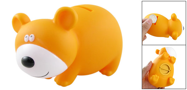 Plastic Piggy Bank Cartoon Bear Coin Money Saving Box Orange