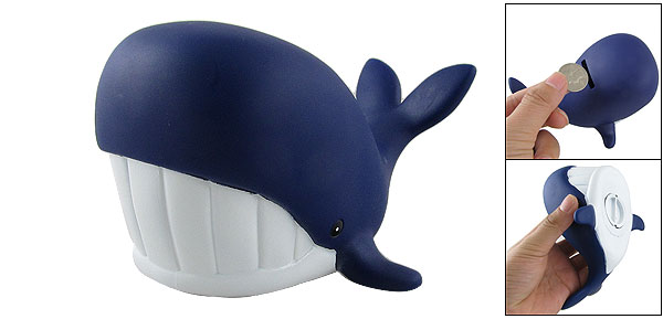 Children Shark Shape Plastic Piggy Bank Coin Box Dark Blue
