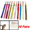 10 Pairs Assorted Color Bamboo Chopsticks w Polyester Cover