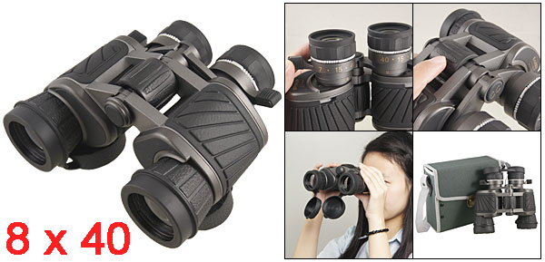 Black Rubber Coated Adjustable Focus 8 x 40 Binoculars w Storage Bag