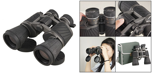 Black Rubber Coated Adjustable Eyepiece 10 x 50 Binoculars w Bag