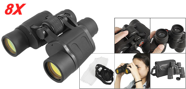 Black Adjustable Focus 8 x 40 Folding Binoculars w Carry Bag