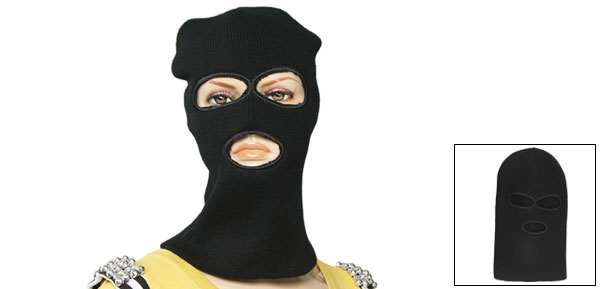 Woman Men Black Rib Knitted Ski Mask Balaclava Hat Cap 3 Holes Face Shield