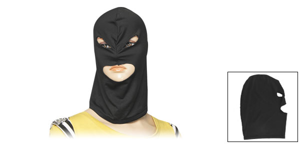 Women Men 3 Hole Black Stretchy Cycling Ski Face Mask Balaclava