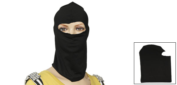 Black Elastic Ski Cycling Face Mask Balaclava Black for Lady Men