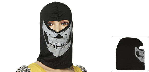 Black Stretchy One Hole Skull Print Balaclava Ski Mask for Adult
