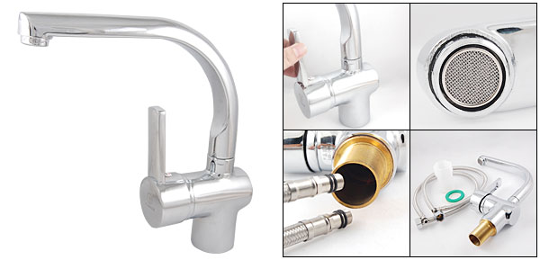 Kitchen Sink Basin Single Handle Swivel Faucet Cold Hot Water Mixer Tap