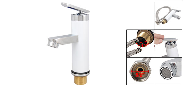 Kitchen Sink Basin Rotary Handle White Mixer Tap Brass Faucet w 2 Hose