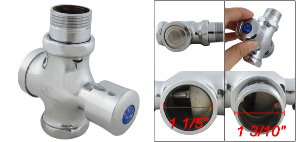 Home Toilet Chrome Finish Button Type Flush Valve 1 3/10