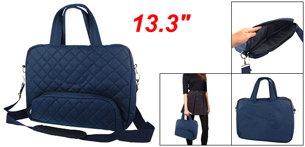 Nylon Zipper Navy Blue Handbag for 13.3