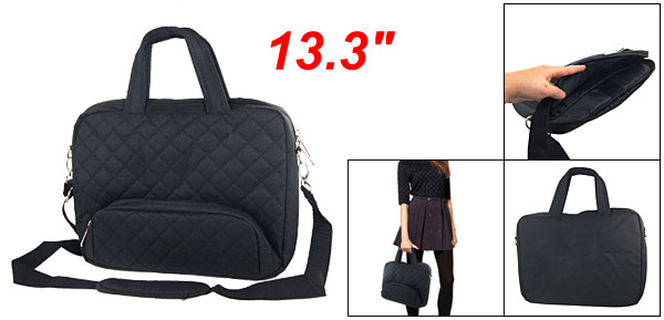 Sponge Interior Nylon Handbag Black for 13.3