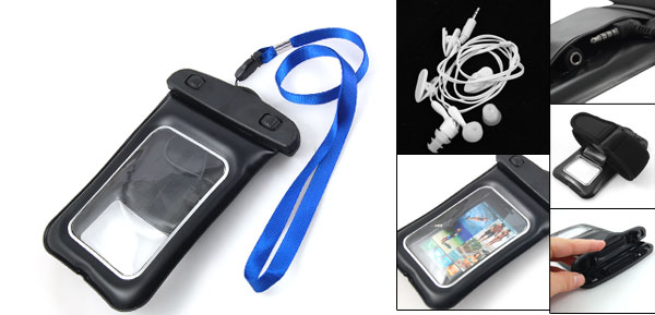 Black Waterproof Pouch Bag + Wriststrap + Earphone