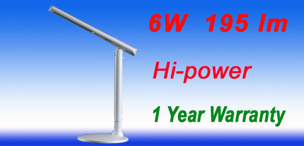 US Plug 195 Lumin 6W Hi-Power White LED Light Desk Angle Lamp CE RoHS