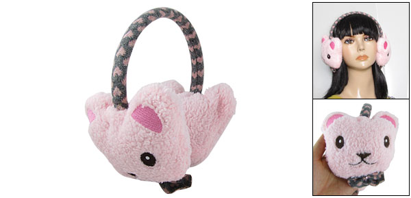 Child Grils Pink Fluffy Bow Bear Ear Warmers Muffs Earmuffs