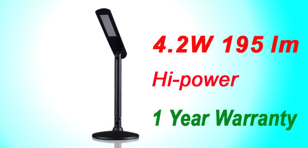 US Plug 4.2W 195 Lumin Direct-glow Black LED Desk Angle Lamp Light 1 Year Warranty