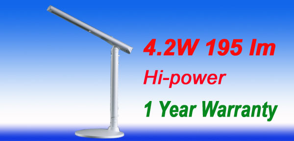 US Plug 4.2W 195 lm Hi Power LED Desk Angle Lamp Light White 1 Year Warranty
