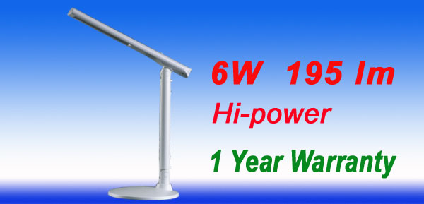 6W 195 lm White Flat Chassis Hi Power LED Angle Desk Light Lamp 1 Year Warranty