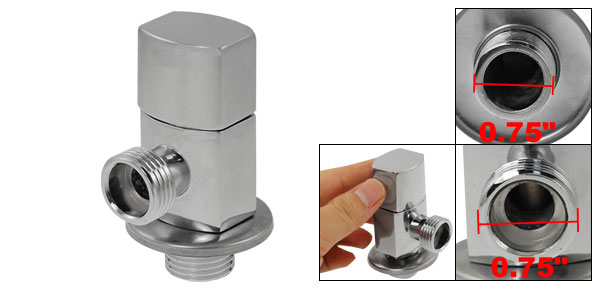 Alloy Oval Base Water Drain Control Angle Valve Silver Tone