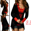 Woman Deep V Neck 3/4 Sleeve Button Up Knit Tunic Cardigan