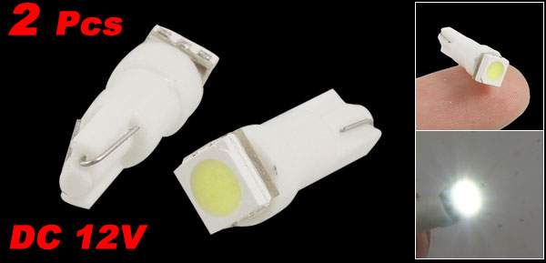 2 Pcs T5 5050 SMD White Dashboard Light Wedge Bulbs 12V