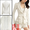 White Shawl Neck Bowtie Accent Long Sleeves Blazer Jacket M for W...