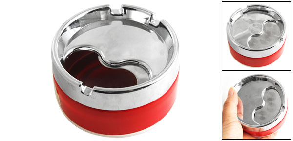 Rotatable Cover Alloy Round Cigarette Smoking Ashtray Holder