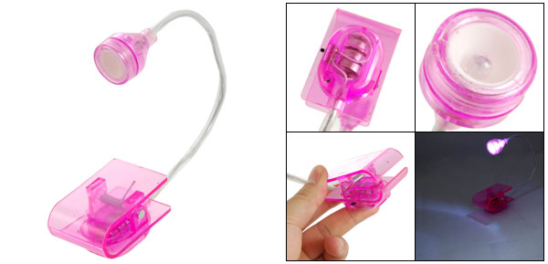 Flexible Neck White Light Book Clip Lamp Fuchsia for Reading