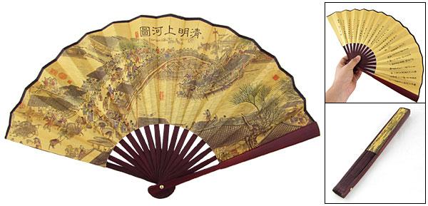 Chinese Famous Qingming Shanghe Tu Print Fabric Folding Hand Fan