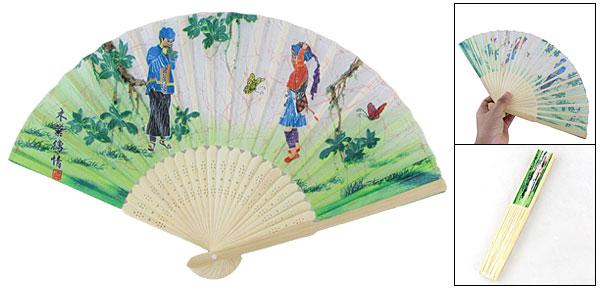 Foldable Chinese Minority Custom Print Fabric Hand Fan