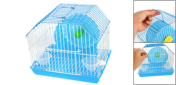 Water Food Feeder Plastic Wheel Hamster Gerbil Mice Cage Sky Blue