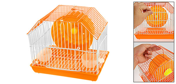 Rotary Exercise Wheel Orange Metal Cage for Pet Hamster Mouse