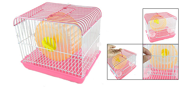Pet Hamster Gerbil Mice Plastic Exercise Wheel Pink House Cage