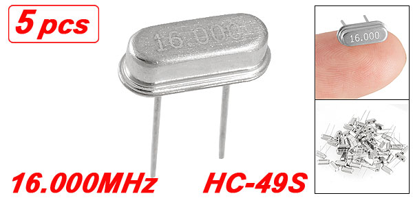 5 x 16.000 MHz 16 MHz Crystal HC-49S Low Profile