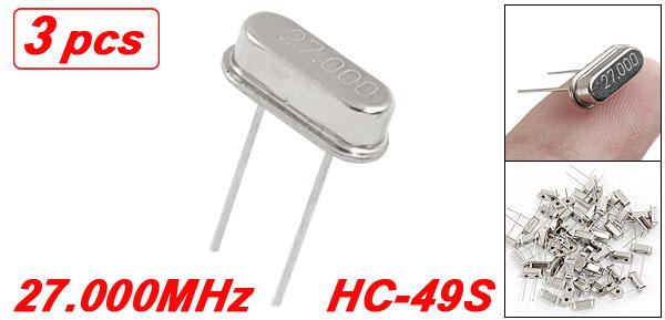3 x 27.000 MHz 27 MHz Crystal HC-49S Low Profile