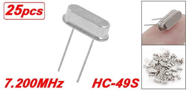 25 x 7.2000 MHz 7.2 MHz Crystal HC-49S Low Profile