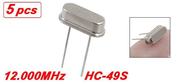 5 x 12.000 MHz 12 MHz Crystal HC-49S Low Profile