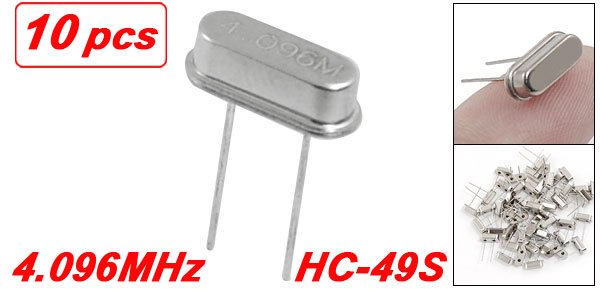 10 x 4.096MHz Crystal Oscillator HC-49S Low Profile