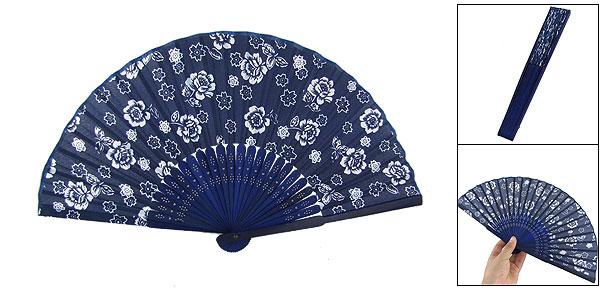 Dark Blue Bamboo Ribs Floral Fabric Folding Dance Hand Fan
