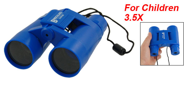 Child Kids Plastic 36mm x 3.5X Foldable Binoculars Telescope Toy Blue