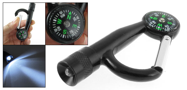Outdoor White LED Light Torch Carabiner Hook w Compass Black