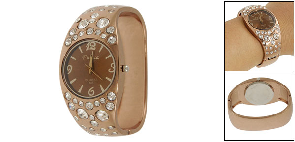 Woman Faux Rhinestone Detail Copper Tone Alloy Bracelet Wristwatch