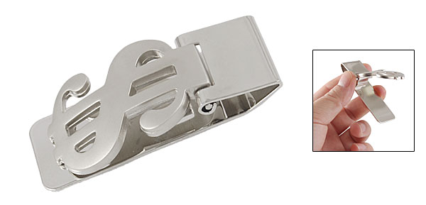 Glossy Stainless Steel Tension Hinger Money Cash Clip Holder Silver Tone