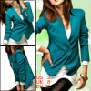 Teal Long Sleeves Padded Shoulder Collarless Blazer for Women