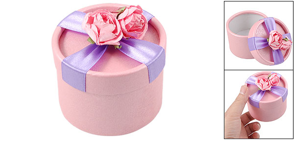 Pink Flower Decor Purple Ribbon Cylinder Shape Gift Box Case