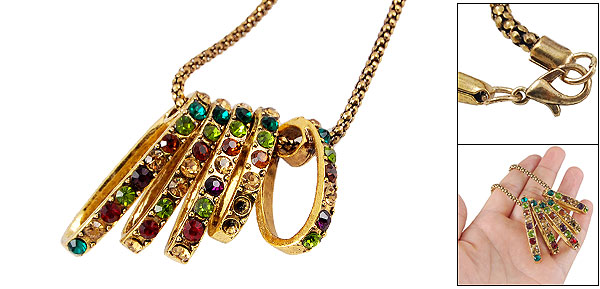 Women Colorful Rhinestone Accent Oval Loop Pendant Gold Tone Chain Necklace