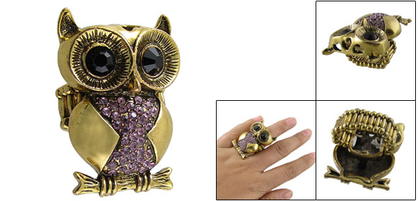 Women Rhinestone Accent Black Eyes Owl Finger Ring Gold Tone US 5