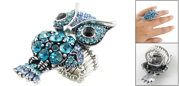 Woman Blue Rhinestone Inlaid Owl Shape Finger Ring US 5 1/2