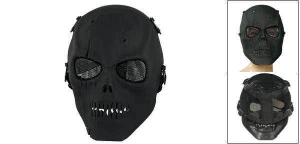 Adult Metal Wire Mesh Eyes Foam Padded Nose Bridge Skull Full Face Mask for War Game